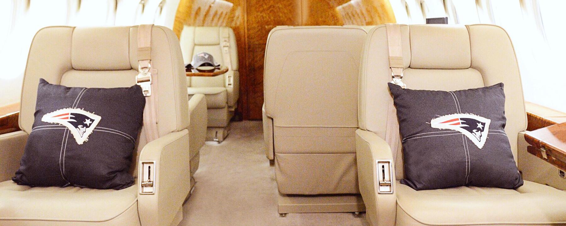 private jet interior for superbowl
