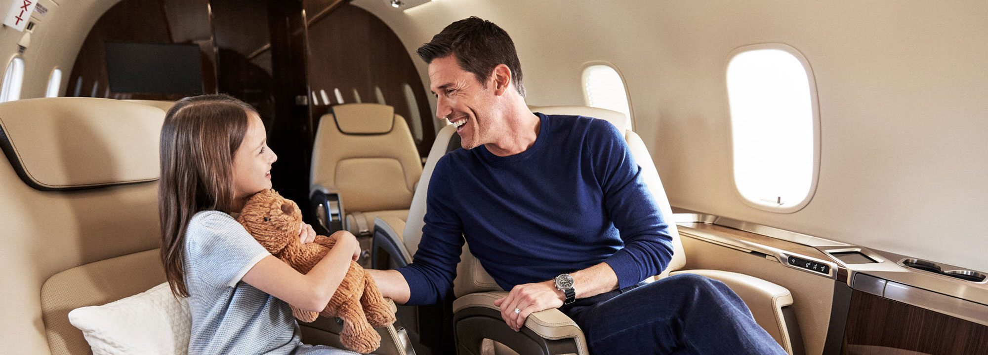 Father and daughter in SENTIENT JET