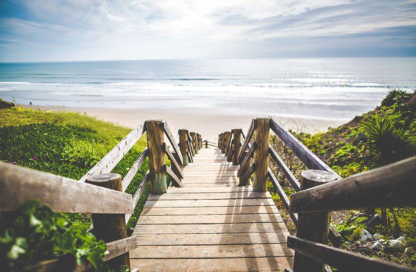 Wood stairs at seashore